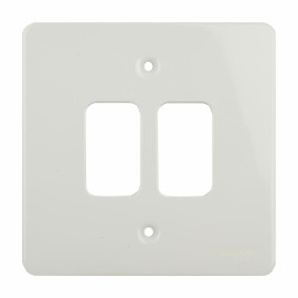 2 Gang Grid Cover Plate in White Metal, Schneider GUG02GPW Ultimate Grid Flat Plate Cover only