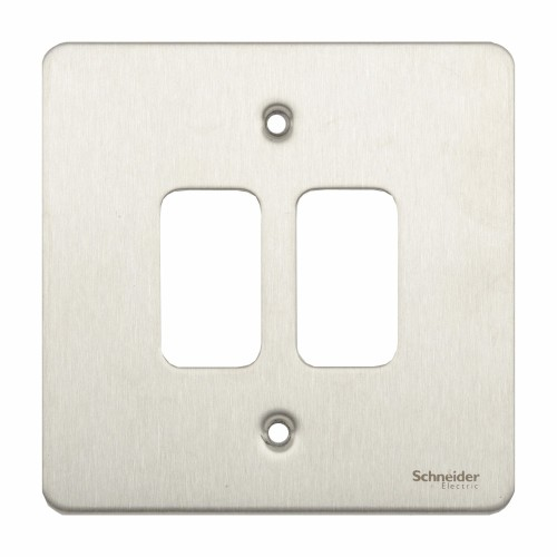 2 Gang Grid Cover Flat Plate in Stainless Steel, Schneider GUG02GSS Front Plate for up to 2 Grid Modules