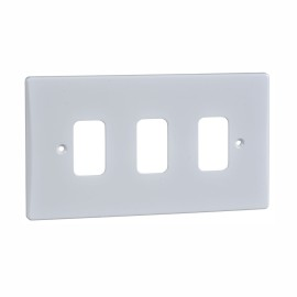 3 Gang Grid Front Plate in Moulded White Plastic, Schneider GUG03G 3G Flush Face Plate