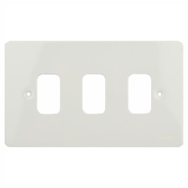 3 Gang Grid Cover Plate in White Metal Flat Plate, Schneider GUG03GPW Ultimate Grid Faceplate
