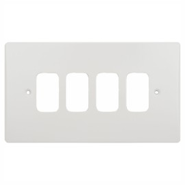 4 Gang Grid Front Plate in White Plastic, Schneider Ultimate GUG04G 4G Grid Faceplate