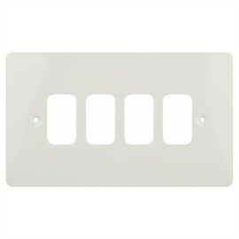 4 Gang Grid Plate Cover in White Metal, Schneider GUG04GPW Ultimate Grid Front Plate