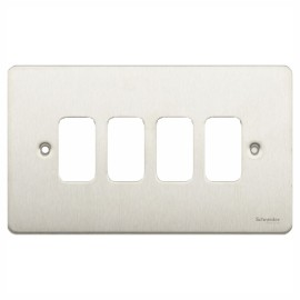 4 Gang Grid Cover Plate in Stainless Steel, Schneider GUG04GSS 4G Metal Flat Faceplate