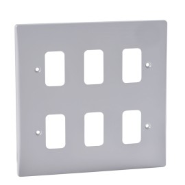 6 Gang Grid Front Plate in Moulded White, Schneider GUG06G Ultimate White Plate with Grid Frame