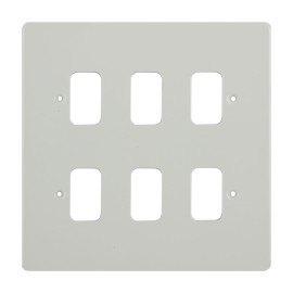 6 Gang Grid Cover in White Metal Flat Plate, Schneider GUG06GPW 6 Module Cover Plate only