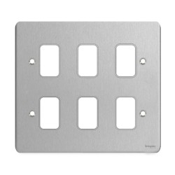 6 Gang Grid Cover Plate in Stainless Steel, Schneider GUG06GSS 6 Grid Module Face Plate