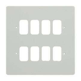 8 Gang Grid Cover in White Metal Flat Plate, Schneider GUG08GPW 8 Module Cover Plate only