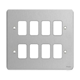 8 Gang Grid Front Plate Stainless Steel, Schneider GUG08GSS 8 Gang Flat Plate Faceplate