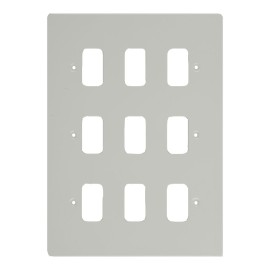 9 Gang Grid Cover in White Metal Flat Plate, Schneider GUG09GPW 9 Module Cover Plate only