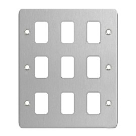9 Gang Stainless Steel Grid Front Plate, Schneider GUG09GSS Flat Cover Plate for 9 Modules