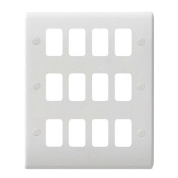 12 Gang Grid Plate Plate White Moulded, Schneider GUG12G 12G White Front Grid Cover Plate