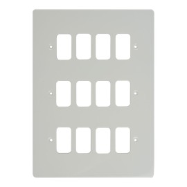 12 Gang Grid Cover Plate in White Metal Flat Plate, Schneider GUG12GPW 12 Module Cover Plate only