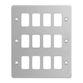 12 Gang Grid Front Plate Stainless Steel, Schneider GUG12GSS 12G Flat Faceplate Only