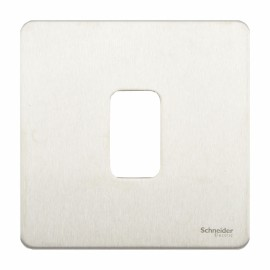 Screwless 1 Gang Grid Flat Plate in Stainless Steel with Mounting Frame, Schneider GUGS01GSS