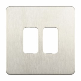 Screwless 2 Gang Grid Cover Plate in Stainless Steel Flat Plate, Schneider GUGS02GSS