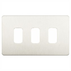 3 Gang Screwless Grid Cover Plate in Stainless Steel, Schneider GUGS03GSS 3G Grid Face Plate
