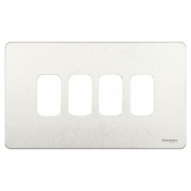 4 Gang Screwless Grid Cover Plate in Stainless Steel, Schneider GUGS04GSS 4G Grid Face Plate