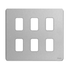 6 Gang Screwless Grid Cover Plate Stainless Steel with Mounting Frame, Schneider GUGS06GSS