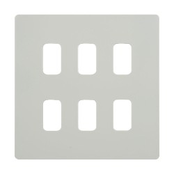 6 Gang Grid Screwless Flat Cover Plate in White Metal c/w Mounting Frame Schneider GUGS06GPW