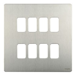 8 Gang Screwless Grid Cover Plate Stainless Steel with Mounting Frame, Schneider GUGS08GSS