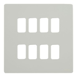 8 Gang Grid Screwless Flat Cover Plate in White Metal c/w Mounting Frame Schneider GUGS08GPW