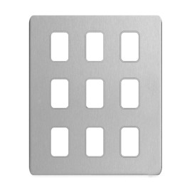 9 Gang Screwless Grid Cover Plate Stainless Steel with Mounting Frame, Schneider GUGS09GSS