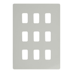 9 Gang Grid Screwless Flat Cover Plate in White Metal c/w Mounting Frame Schneider GUGS09GPW