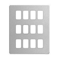 12 Gang Screwless Grid Cover Plate Stainless Steel with Mounting Frame, Schneider GUGS12GSS