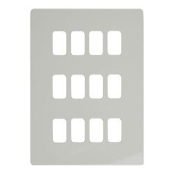12 Gang Grid Screwless Flat Cover Plate in White Metal c/w Mounting Frame Schneider GUGS12GPW