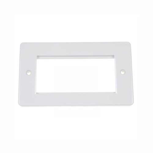 MK K184WHI 2 Gang 4 Module Euro Front Plate White Twin Gang Moulded White