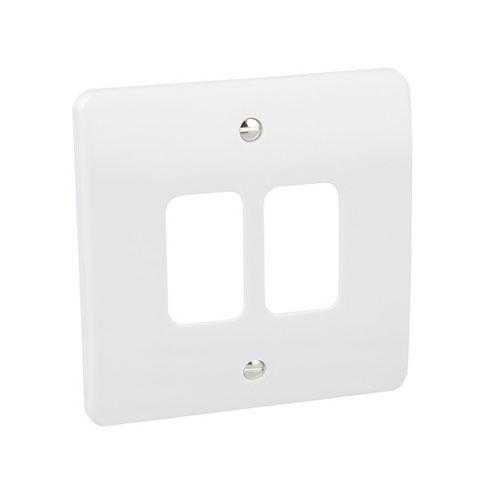 MK K3632WHI 2 Module 2 Way Grid Front Plate 86mm x 86mm White Moulded MK Logic Plus