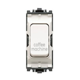 MK K4896CMWHI 20A Double Pole Grid Switch Marked 'Coffee Machine' in White