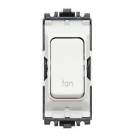 MK K4896FNWHI 20A Double Pole Switch Marked 'Fan' White Grid Module
