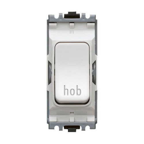 MK K4896HBWHI 20A Double Pole Switch Marked 'Hob' White Grid Module
