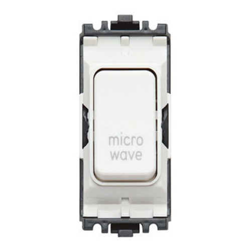 MK K4896MWWHI 20A Double Pole Switch Marked 'Microwave' White Grid Module