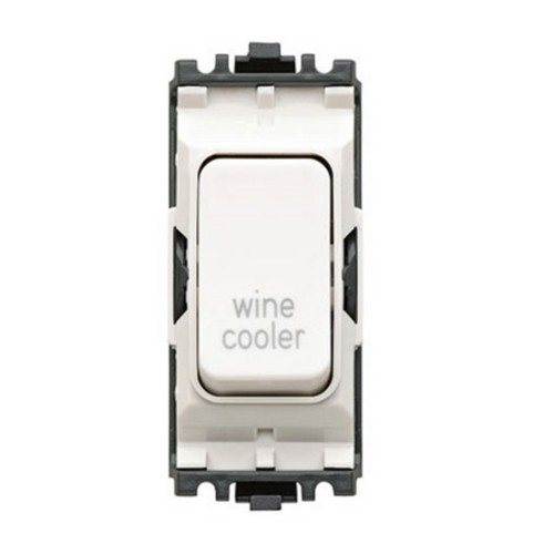 MK K4896WCWHI 20A Double Pole Grid Switch Marked 'Wine Cooler' in White