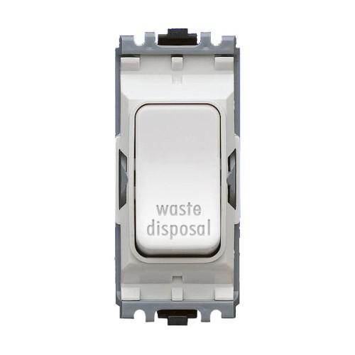 MK K4896WDWHI 20A Double Pole Switch Marked 'Waste Disposal' White Grid Module