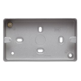MK K2214ALM 2 Gang Surface Mounting Box with 7 x 20mm Knockouts 41mm