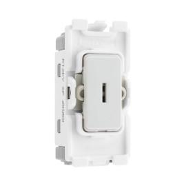 Nexus Grid 20A 20AX 1 Gang 2 Way Single Pole Secret Key Switch Module in White for Nexus Grid System, BG Nexus R12KY