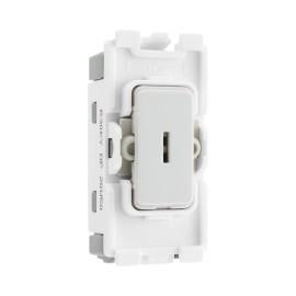 Nexus Grid 20A 20AX 1 Gang 2 Way Double Pole Secret Key Switch Module in White for Nexus Grid System, BG Nexus R30KY