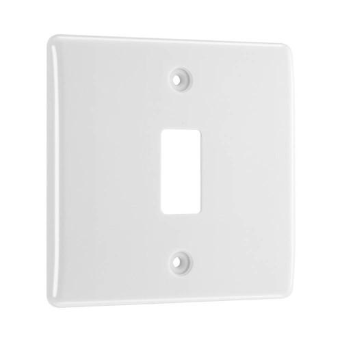 Nexus Grid 1 Gang Front Plate in White Moulded for 1 Module, Nexus Grid System, BG Nexus R81