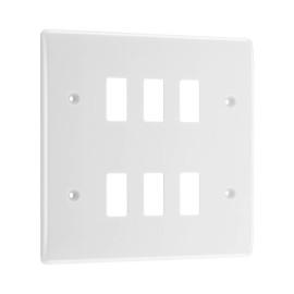 Nexus Grid 6 Gang Front Plate in White Moulded, Nexus Grid System, BG Nexus R86