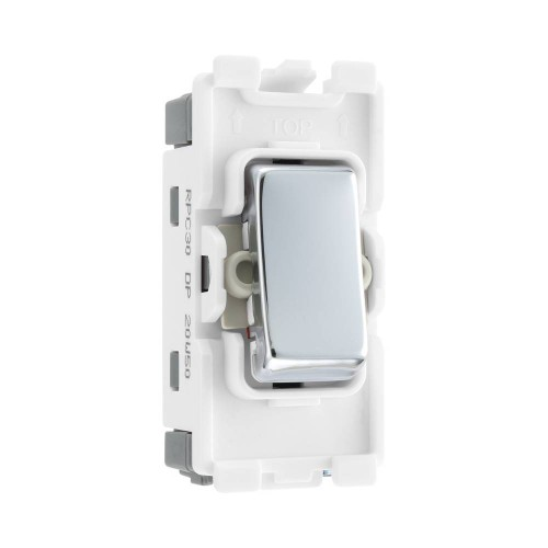 Nexus Grid 20A 20AX 1 Gang Double Pole Switch Module in Polished Chrome for Nexus Grid System, BG Nexus RPC30