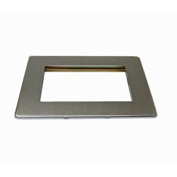 2 Gang Euro Plate for up to 4 Euro Modules, Screwless Satin Chrome Studio Range (Plate only)