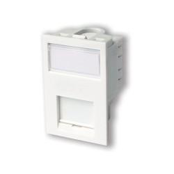 LJ6C CAT5e Floor Module in White with Label Window, 25 x 38mm Snap-in Module