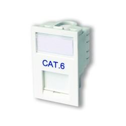 LJ6C CAT6 Floor Module in White with Label Window, 25 x 38mm Snap-in Module