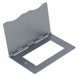 2 Gang Euro Module Cover Plate - Spring Hinged Floor Cover in Brushed Steel for 100 x 50mm (ideal for Floor Sockets)