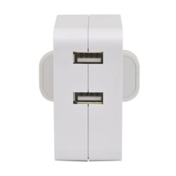 Dual USB Plug Charger, USB Charger 2 x 2100mA in White for charging Smartphones and Tablets