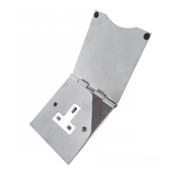 1 Gang 13A Unswitched Floor Socket in Polished Chrome Elite Flat Plate with White or Black Plastic Trim