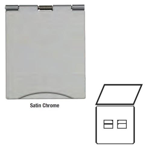 2 Gang Master Telephone Floor Socket in Satin Chrome Elite Flat Plate with White or Black Plastic Trim
